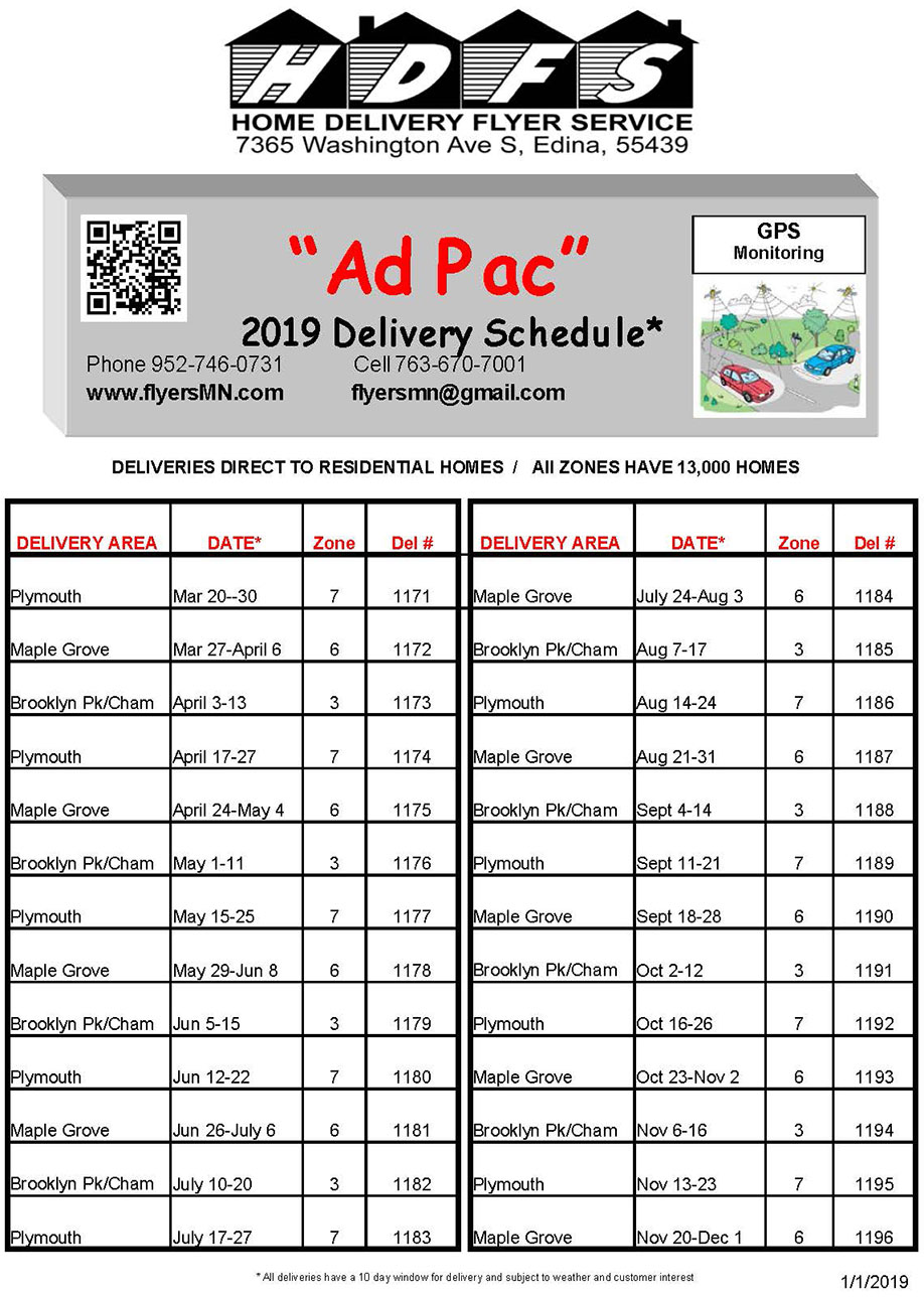 Home Delivery Flyer 2019 Minnesota Delivery Schedule